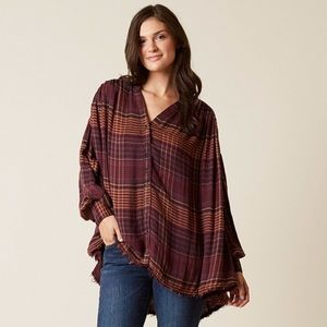Free People Come On Over V Neck Check Shirt
